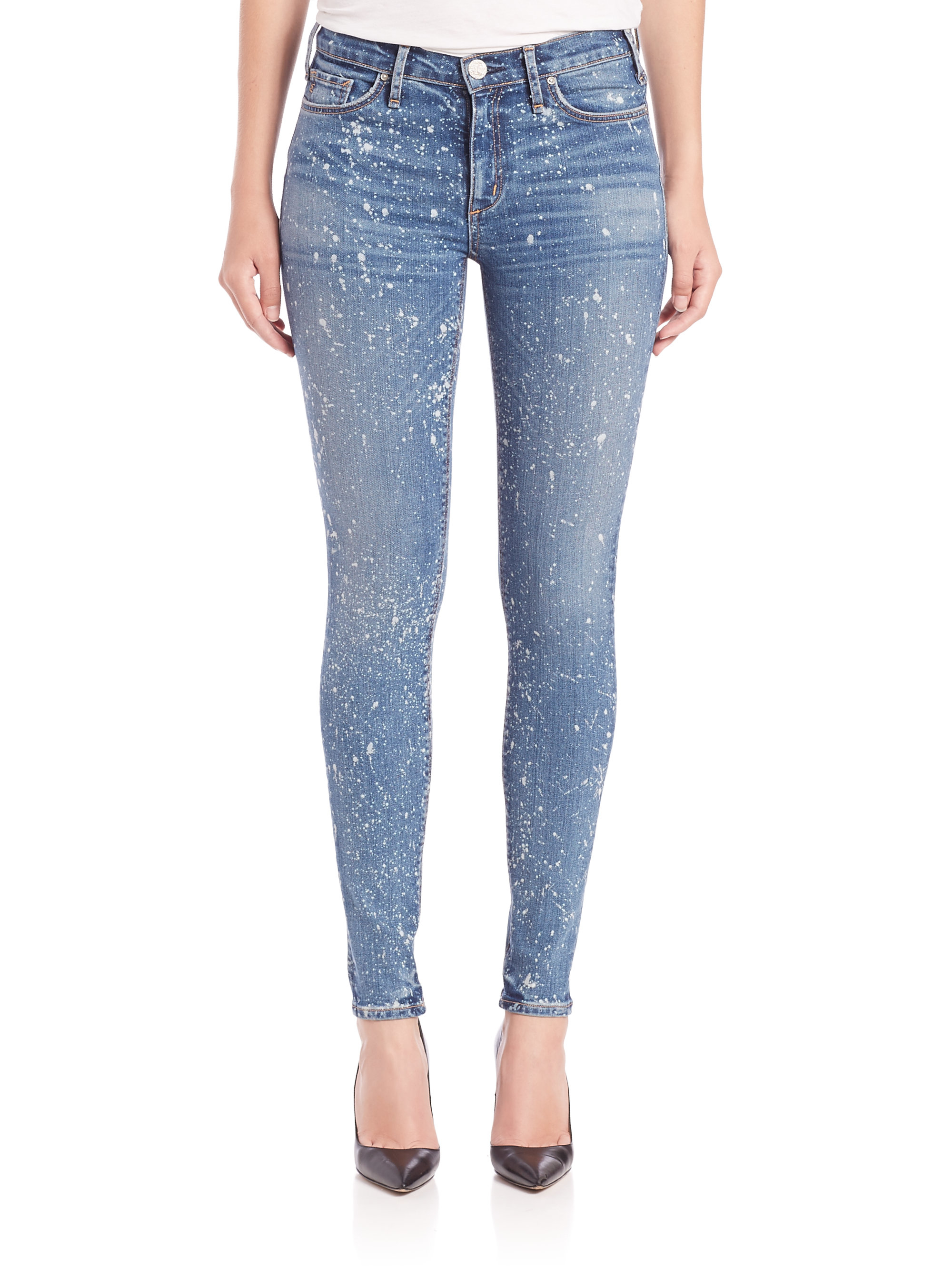 Lyst mcguire newton paint splatter skinny jeans in blue for Blue jean paint color