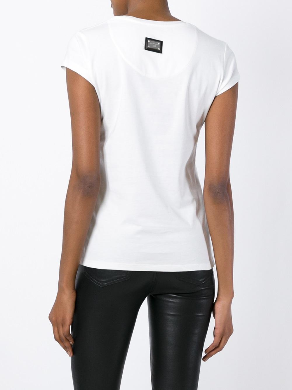philipp plein 39 rock plein 39 t shirt in white lyst. Black Bedroom Furniture Sets. Home Design Ideas