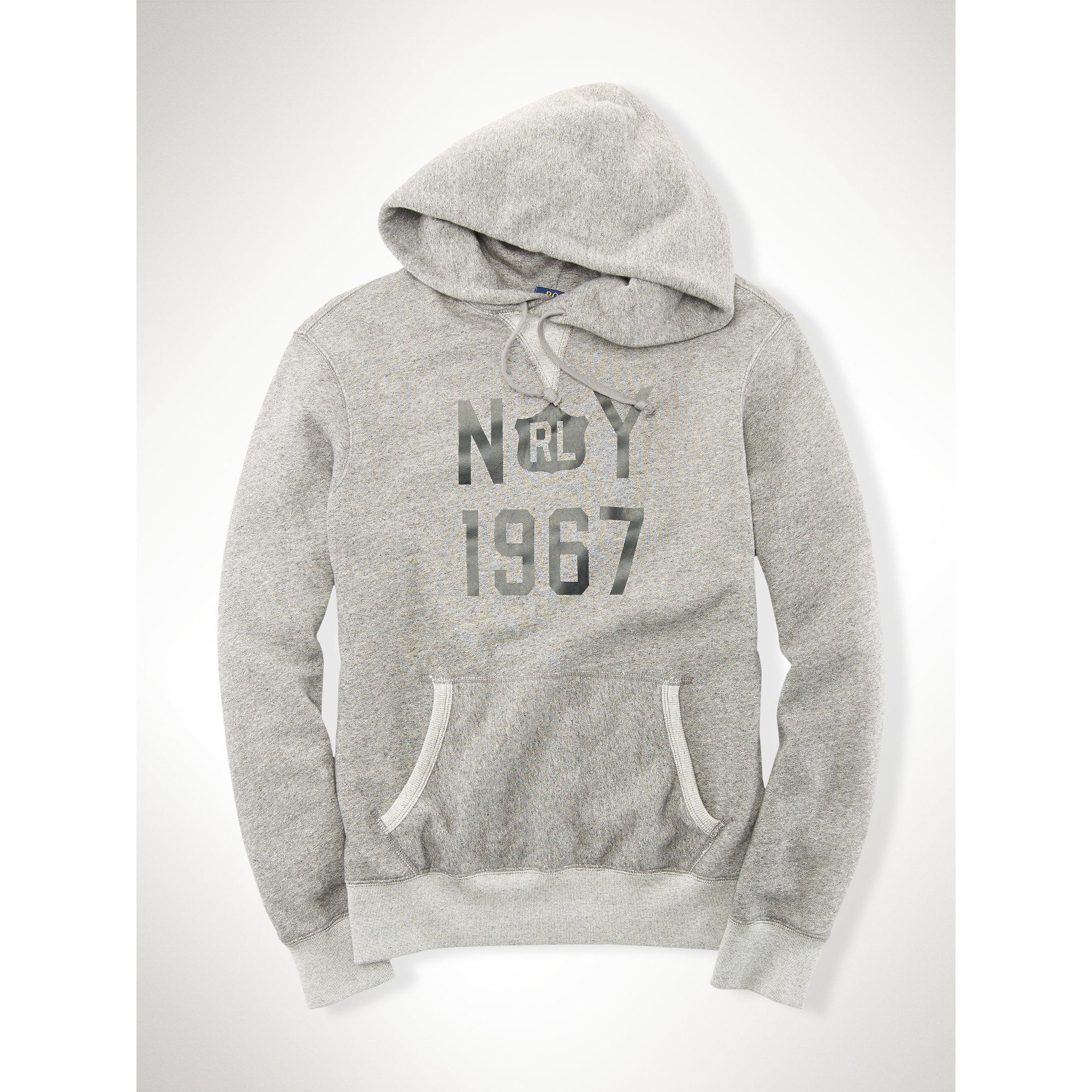 Polo Ralph Lauren Cotton Blend Fleece Hoodie In Gray For