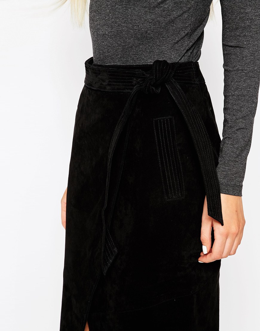 Asos Suede Pencil Skirt With Obi Self Belt in Black | Lyst