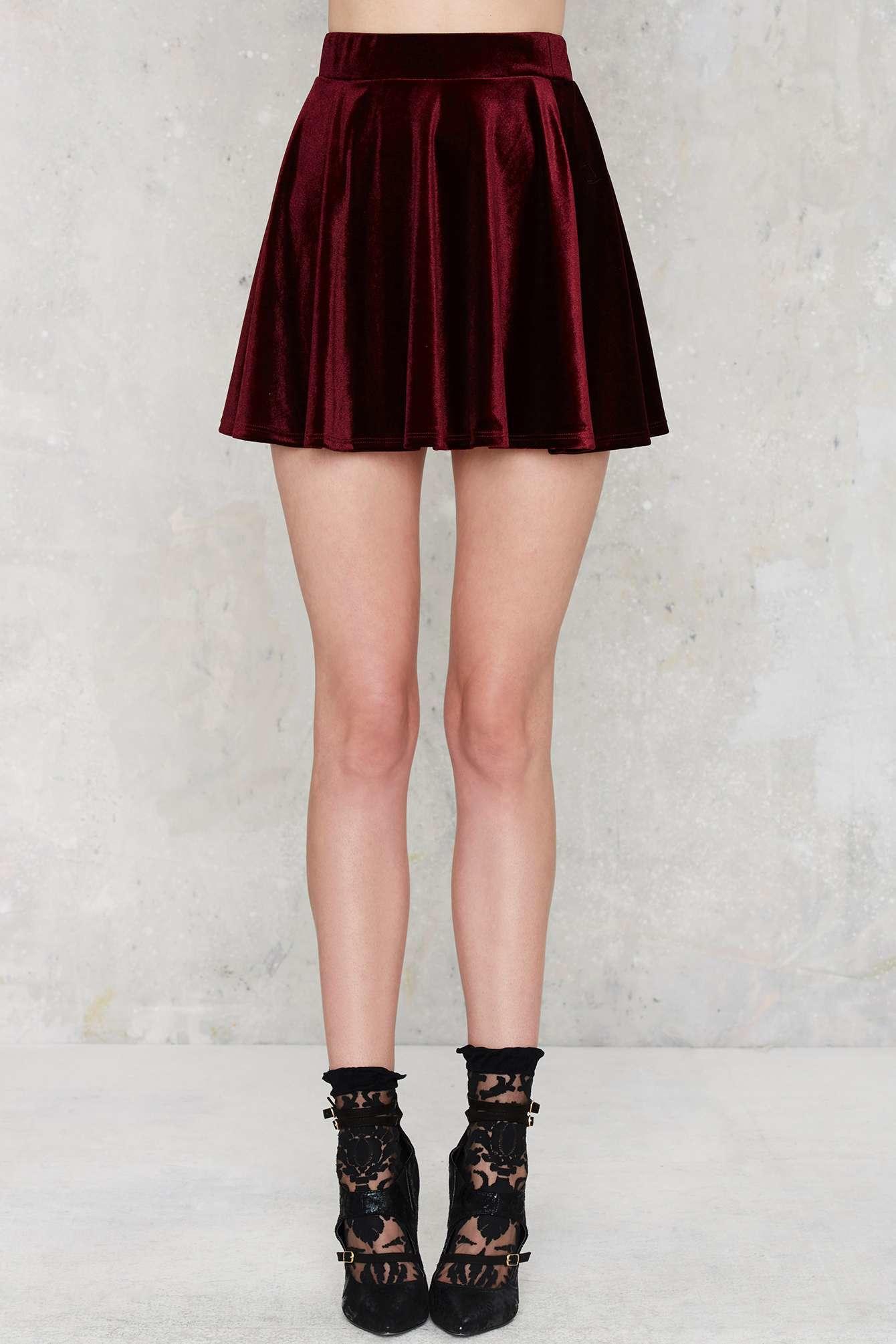 Nasty gal Serial Skater Velvet Skirt in Brown | Lyst