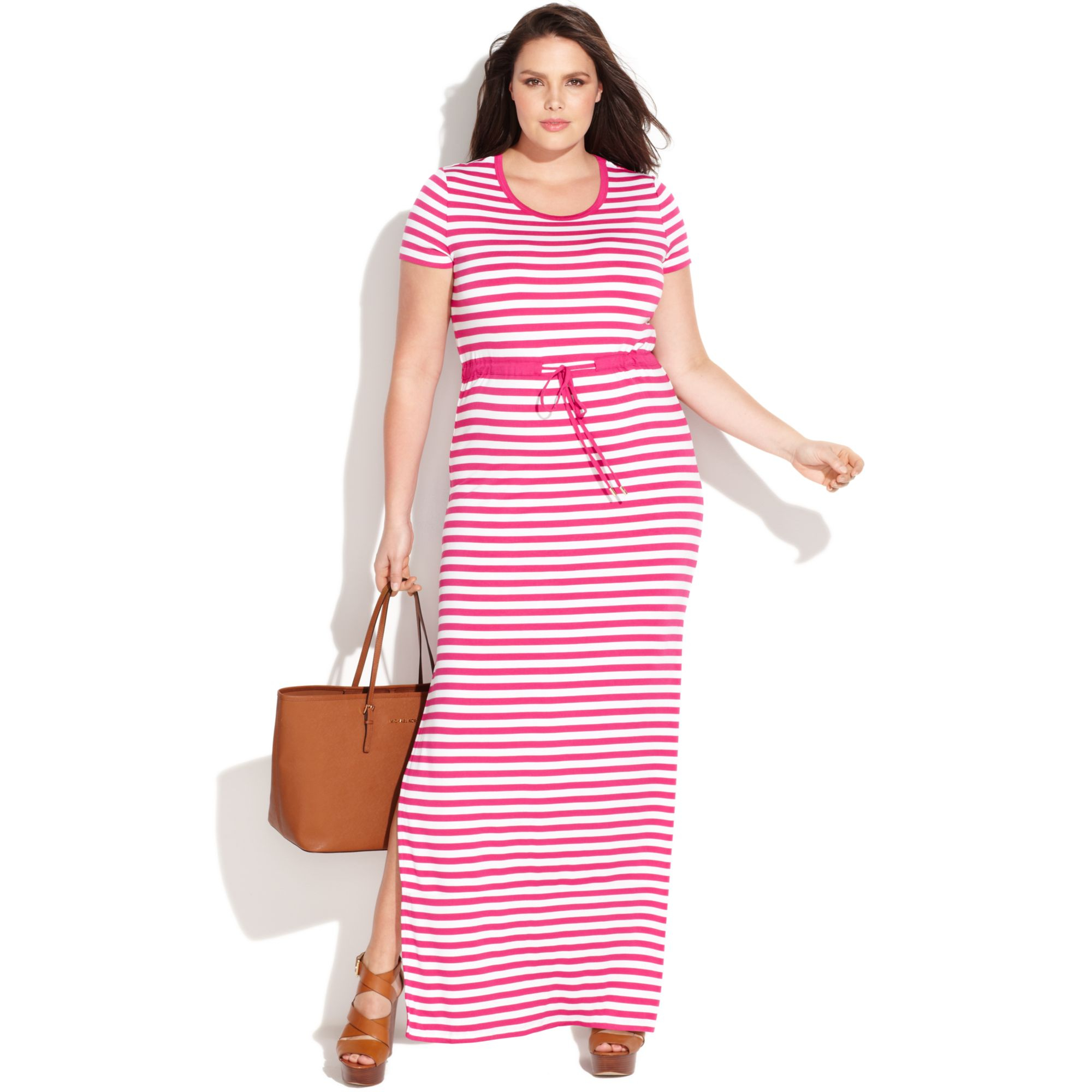 Lyst Michael Kors Plus Size Short Sleeve Striped Maxi Dress In White