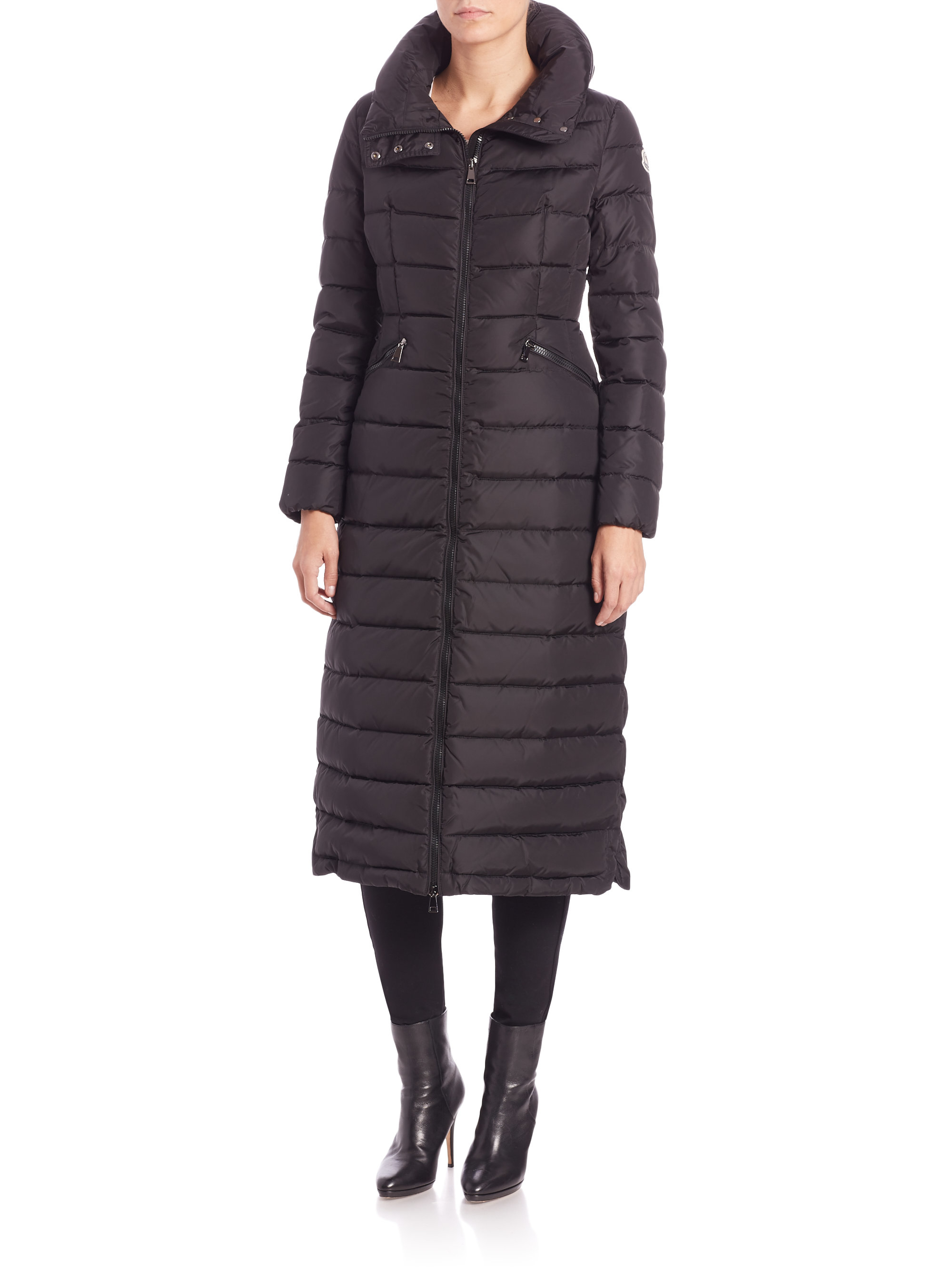 Moncler Flammong Long Puffer Jacket In Black Lyst