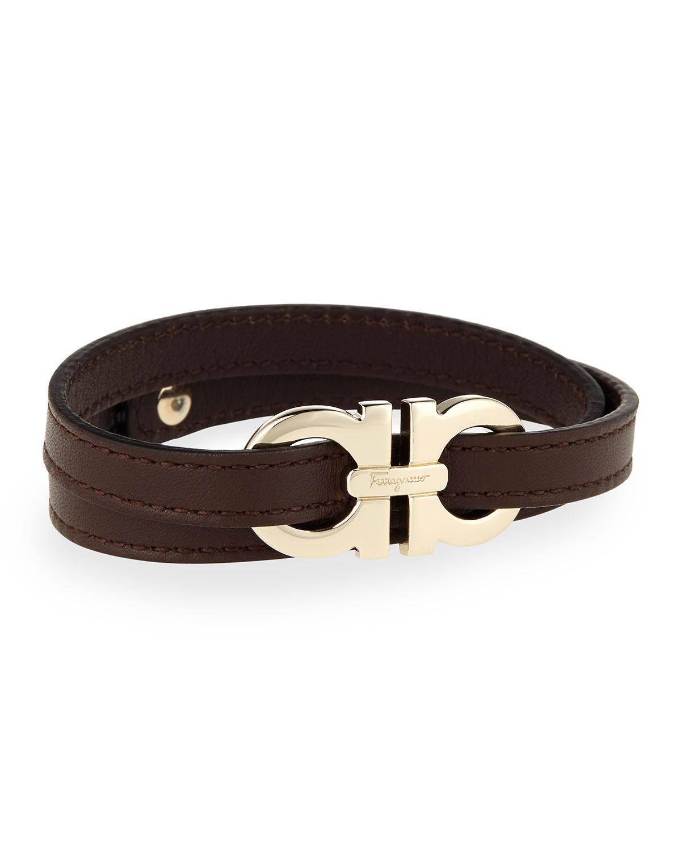 ferragamo s gancini leather wrap bracelet in brown for