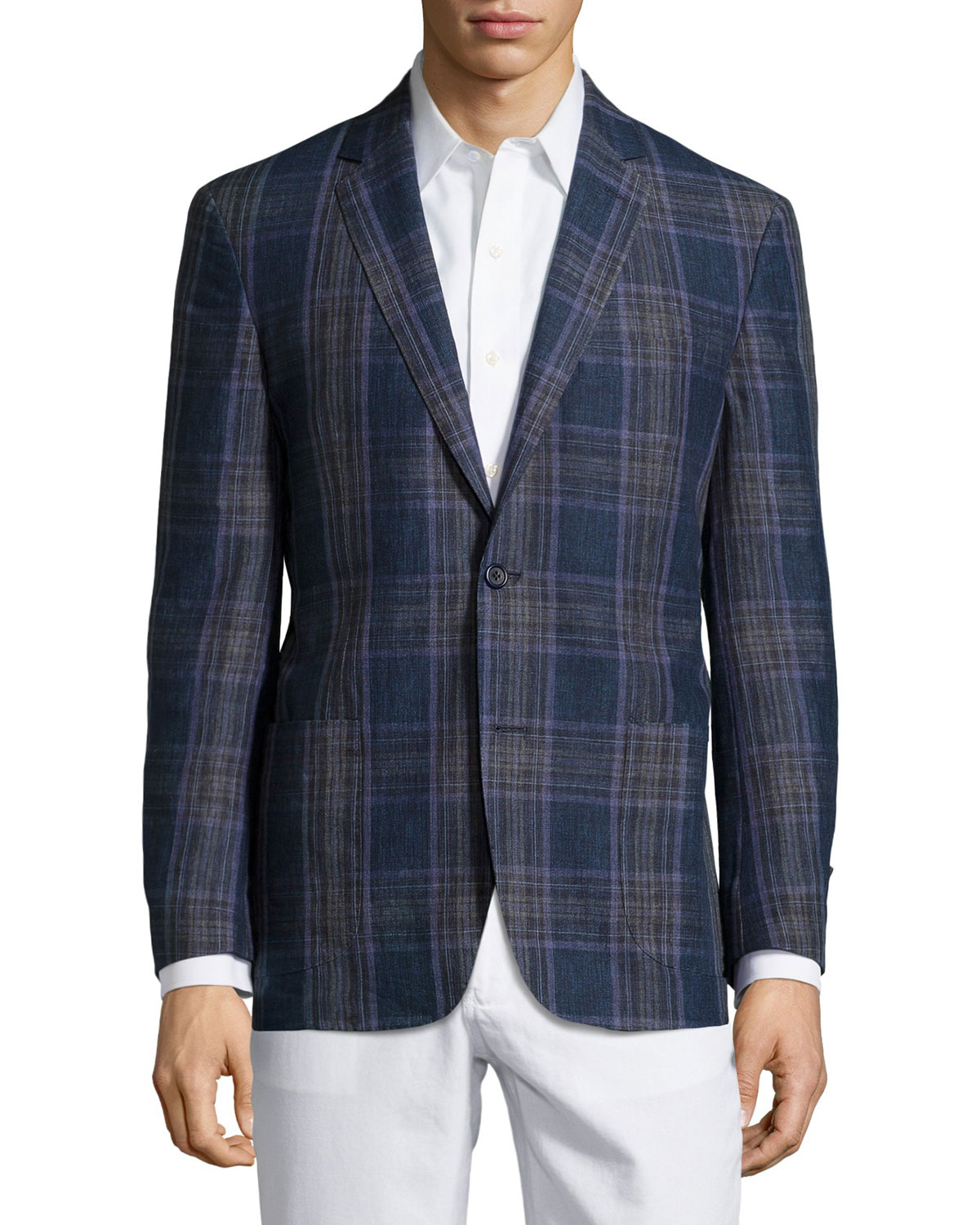 Ike behar Plaid Sport Coat in Blue for Men | Lyst