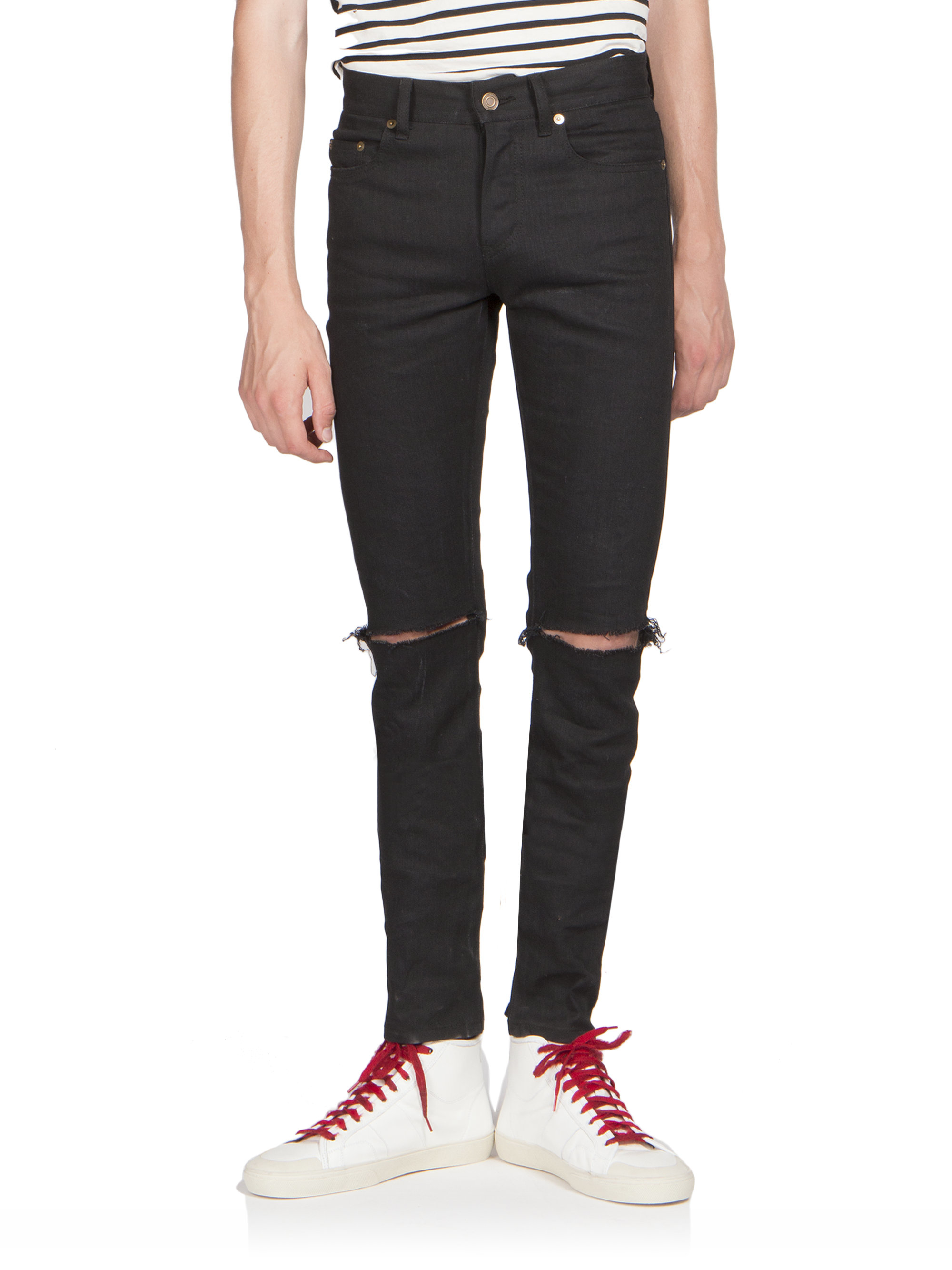 saint laurent ripped knee jeans in black lyst. Black Bedroom Furniture Sets. Home Design Ideas