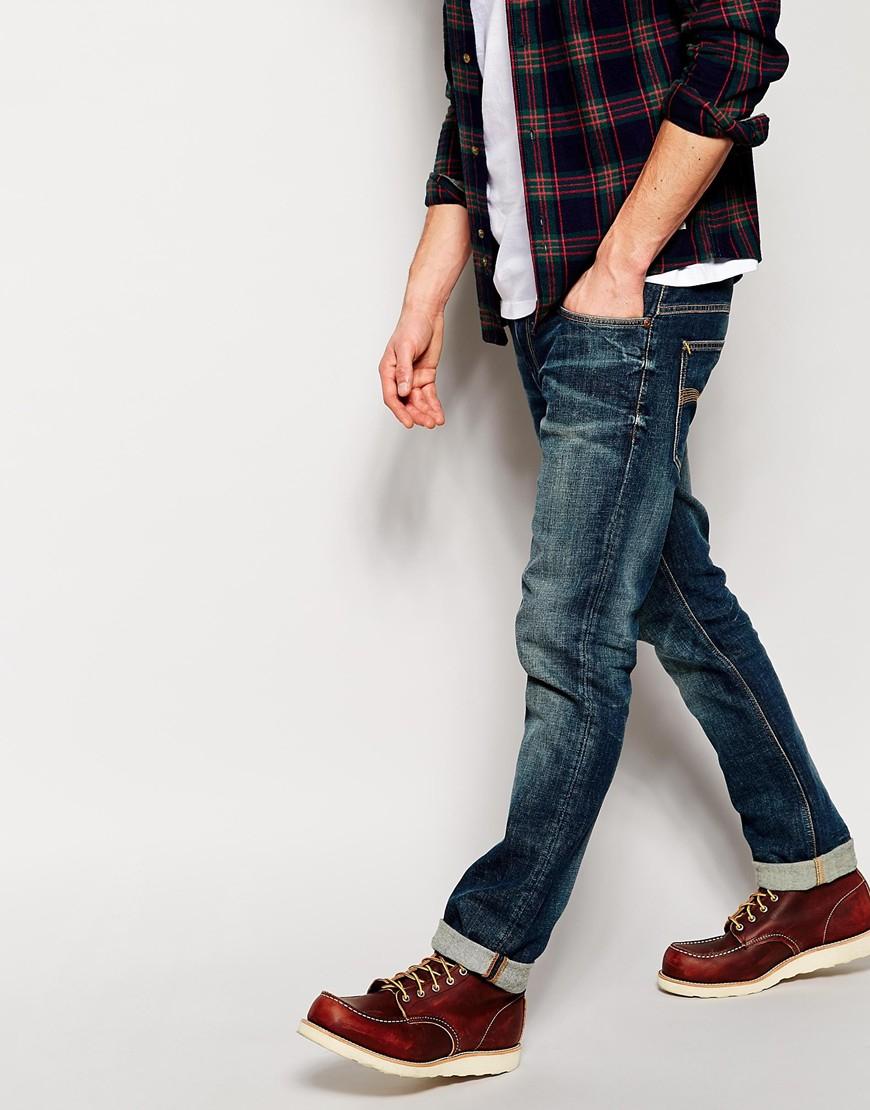 lyst nudie jeans thin finn slim fit dusk indigo dark in. Black Bedroom Furniture Sets. Home Design Ideas