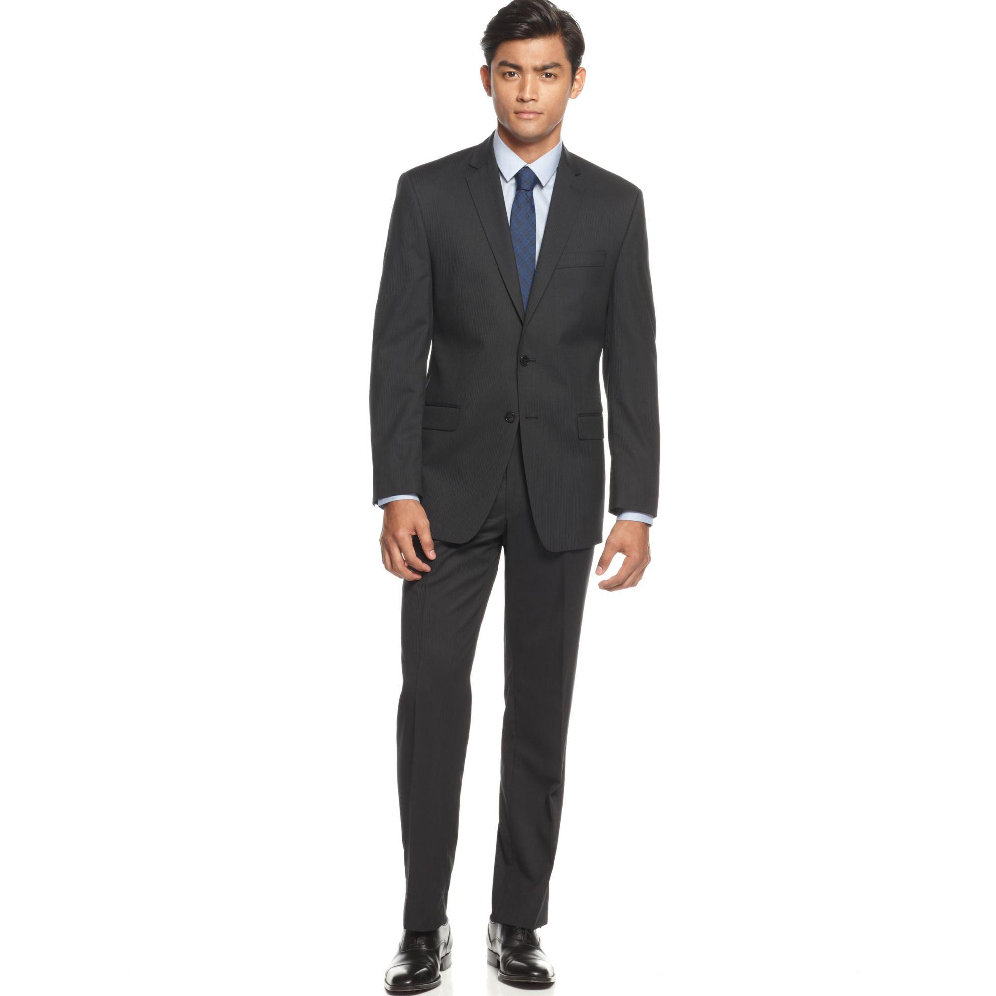 Calvin klein Black Tonal Striped Slim-Fit Suit in Black ...
