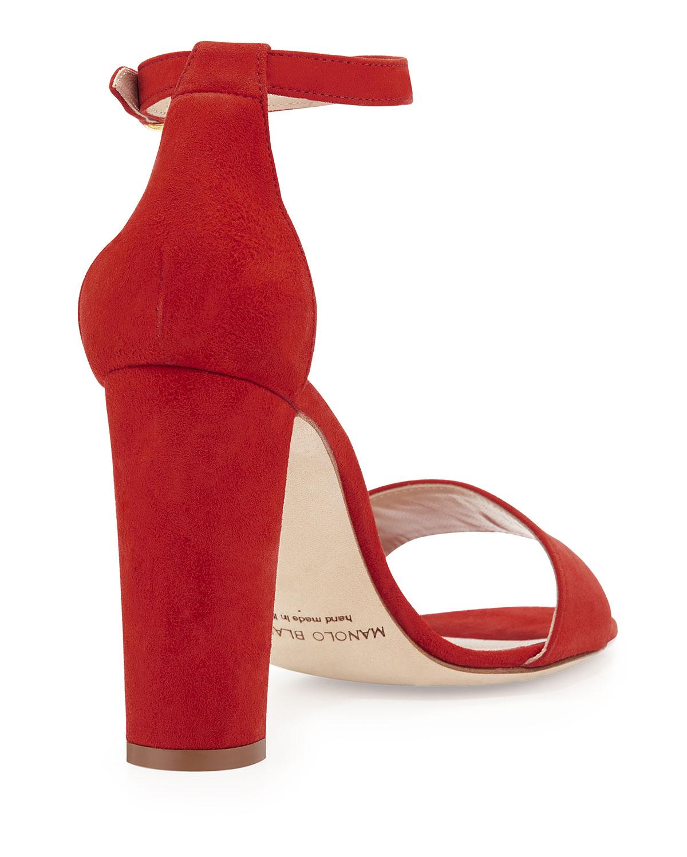 Manolo blahnik Laurato Suede Chunky-Heel Sandal in Red | Lyst
