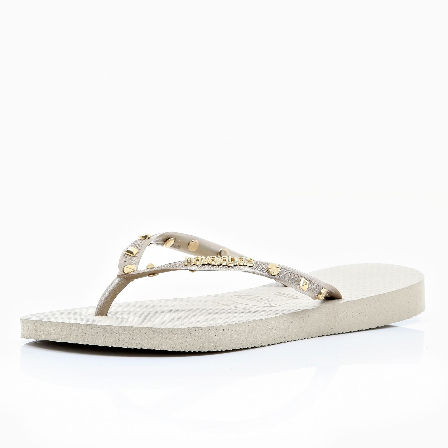 161bf1b9b River Island Gold Studded Havaianas in Metallic - Lyst