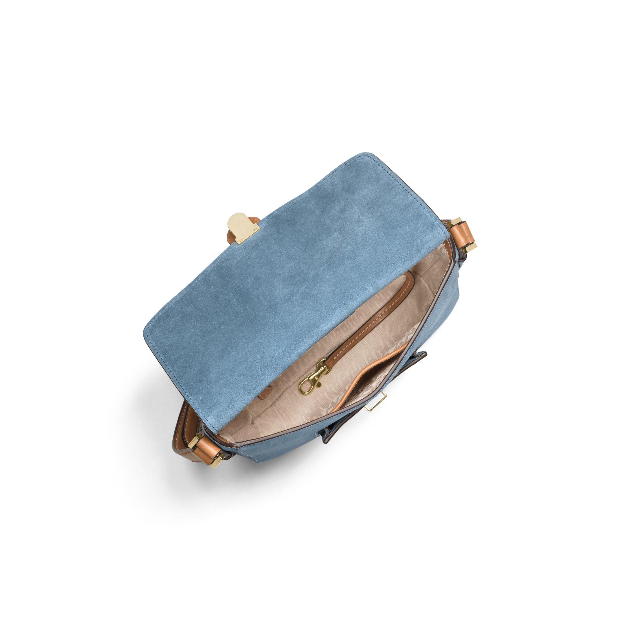 1a4e0dbb44c613 Michael Kors Romy Medium Suede Crossbody in Blue - Lyst