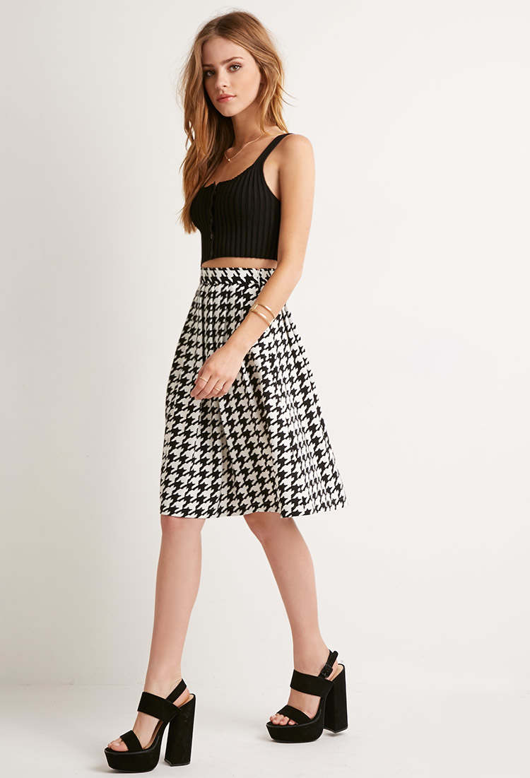 1f82ffcecf Forever 21 Pleated Houndstooth Midi Skirt in Black - Lyst