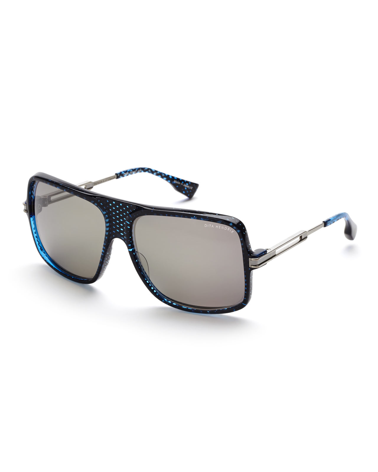Dita Hendrix Sunglasses  dita hendrix drx 2035 blue carbon antique silver tone xl square