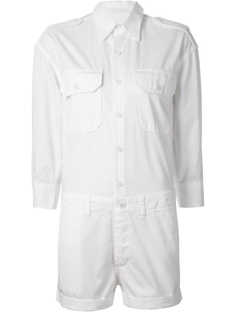 88aa810f1c Lyst - NLST Shirt Playsuit in White