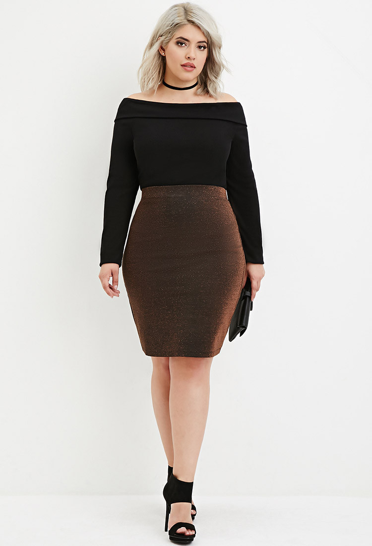 Forever 21 Plus Size Metallic Knit Pencil Skirt in Black | Lyst