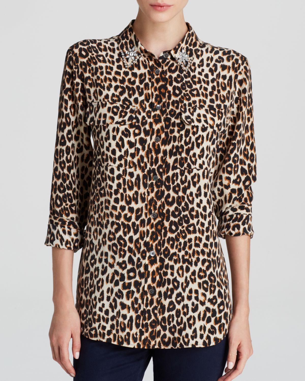 5b6563b28599f Lyst - Equipment Leopard Print Slim Signature Jewel Collar Silk ...