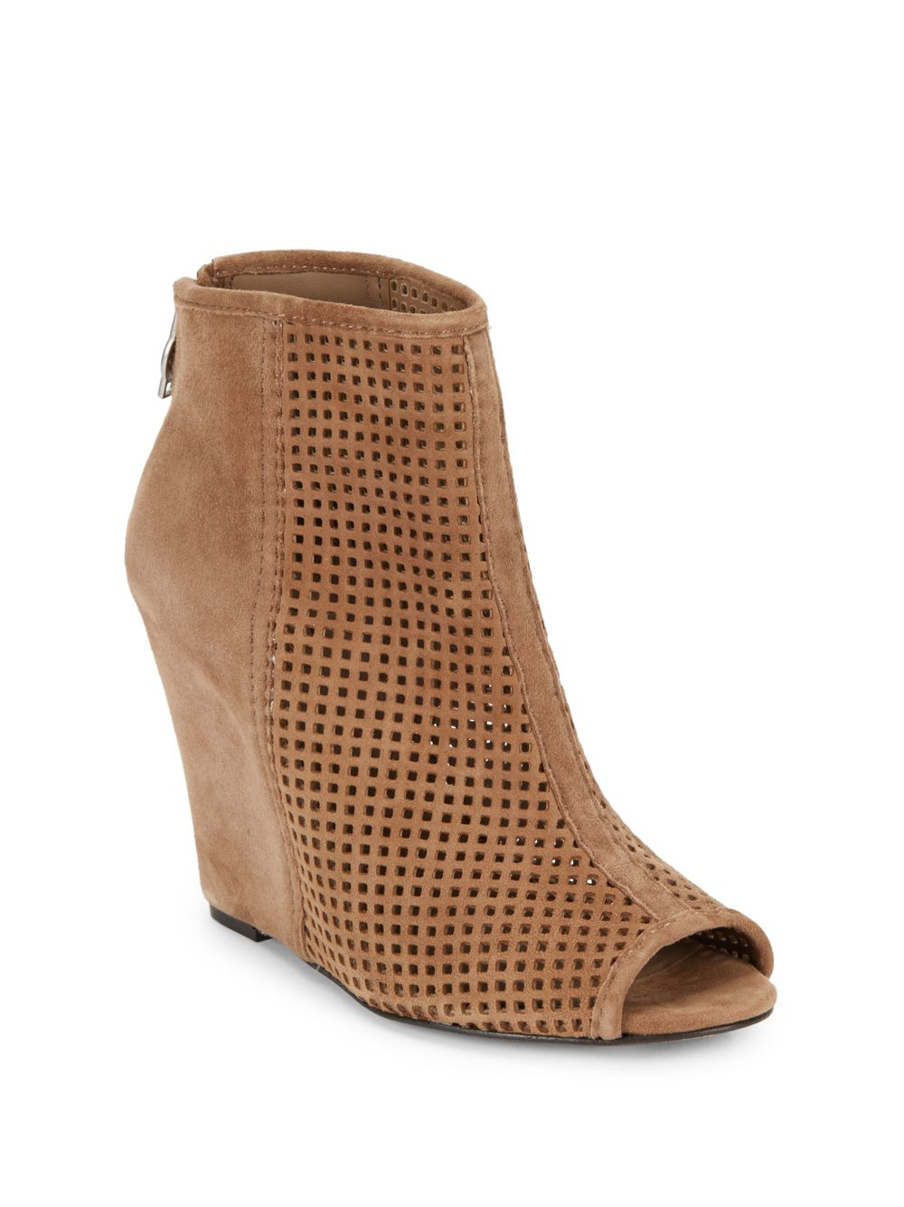 ash june perforated suede peep toe wedge ankle boot in
