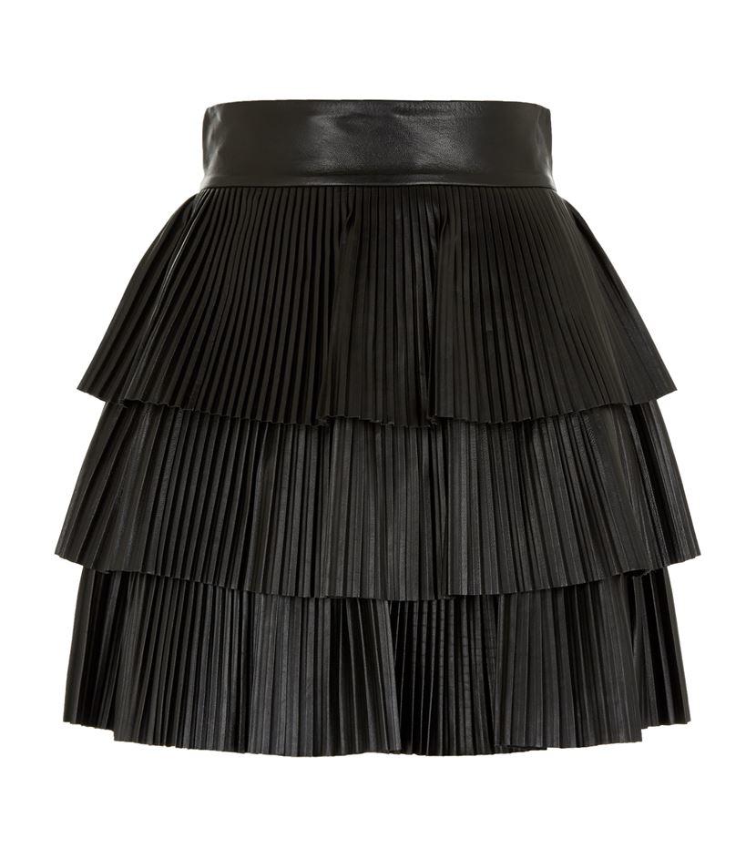 balmain pleated mini skirt in black lyst