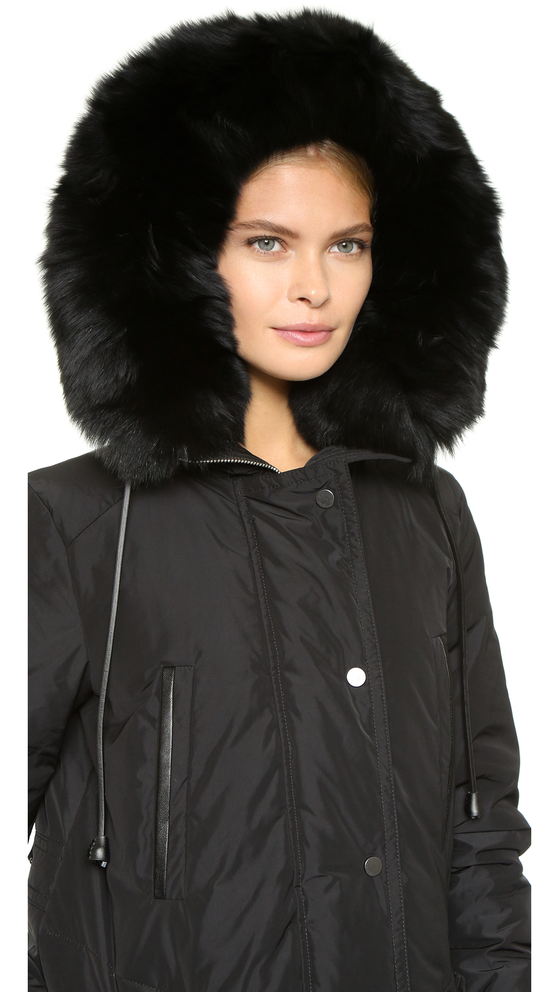 Vince Fur Trim Hooded Parka - Black in Black | Lyst