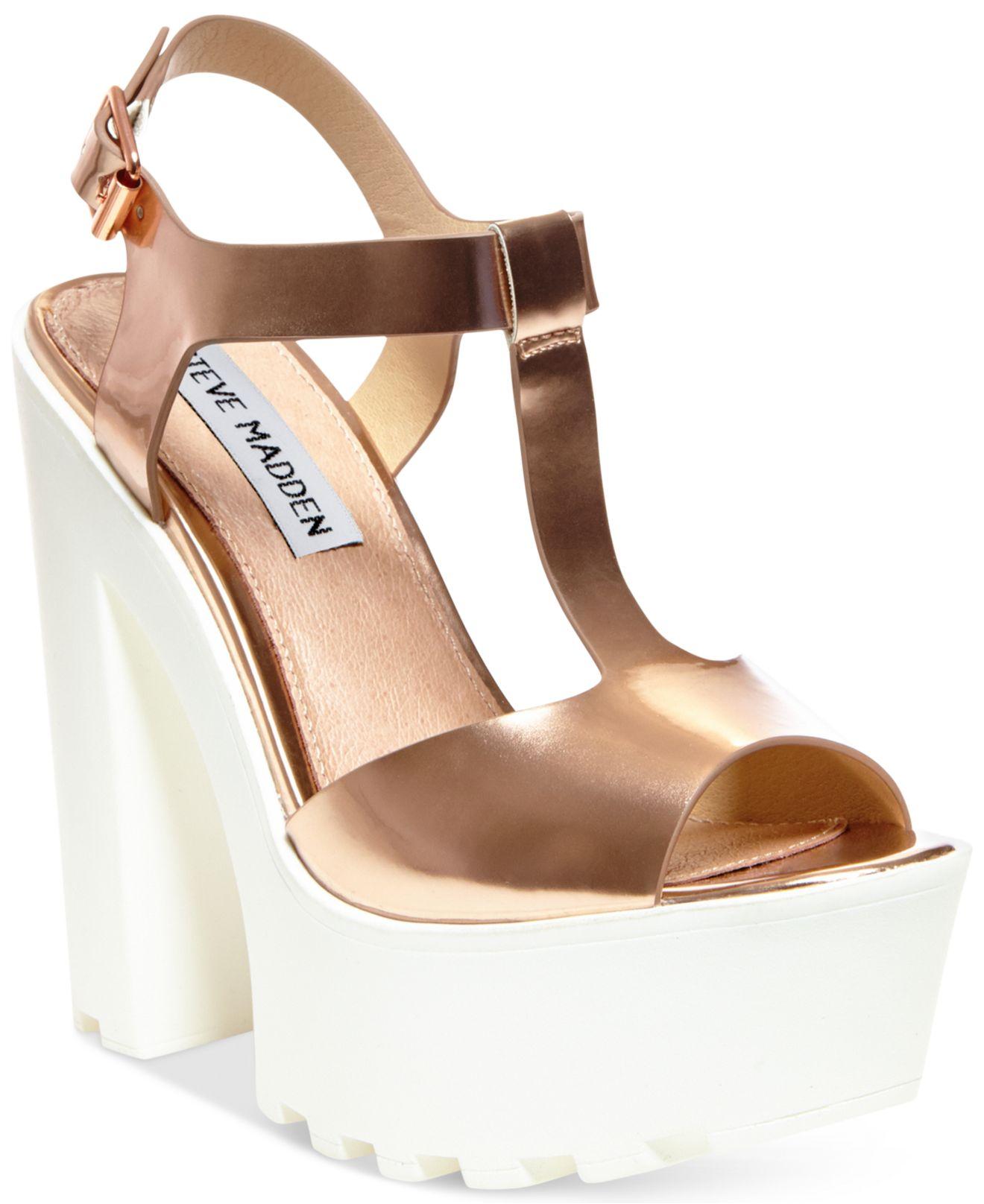 83734de5280f Lyst - Steve Madden Girltalk Platform Wedge Sandals in Pink