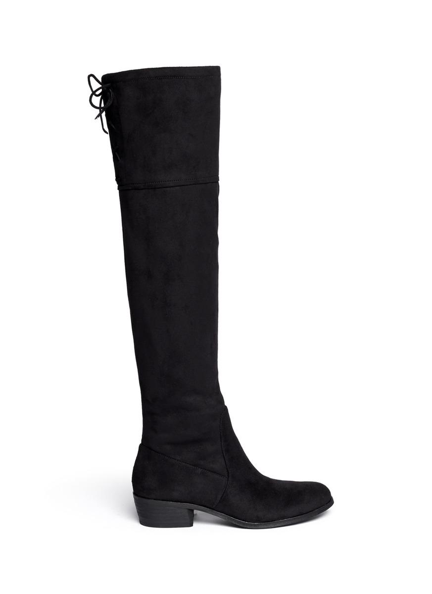 sam edelman jenkins stretch suede boots in black lyst