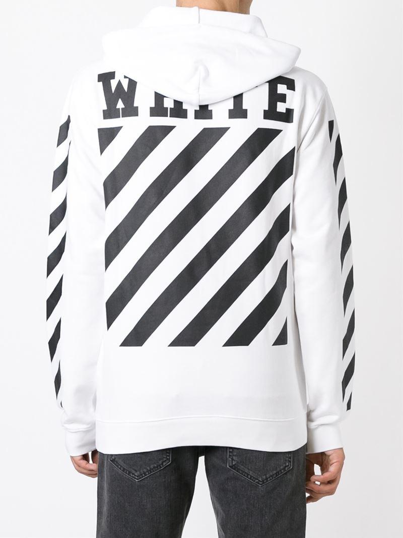 off white c o virgil abloh printed stripe hoodie in white. Black Bedroom Furniture Sets. Home Design Ideas