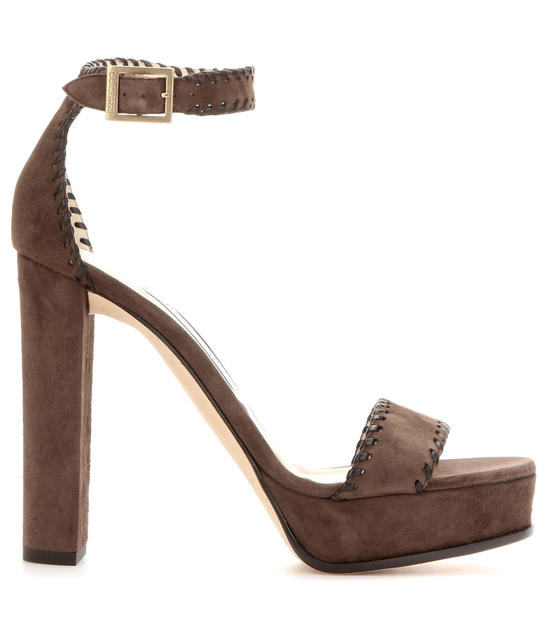 344dd969220 ... switzerland jimmy choo mira 80mm leather crisscross sandal in brown lyst  8f7b6 4c786