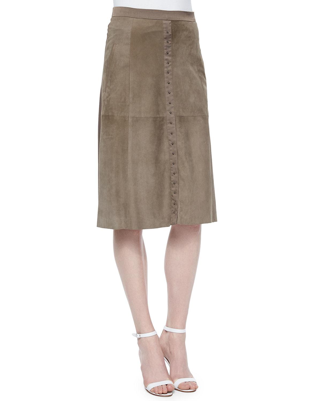 flowy back midi suede skirt in brown lyst
