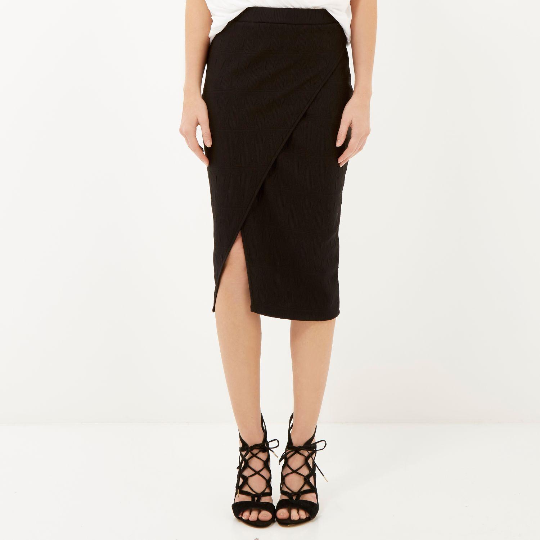 River island Black Jacquard Asymmetric Wrap Pencil Skirt in Black ...