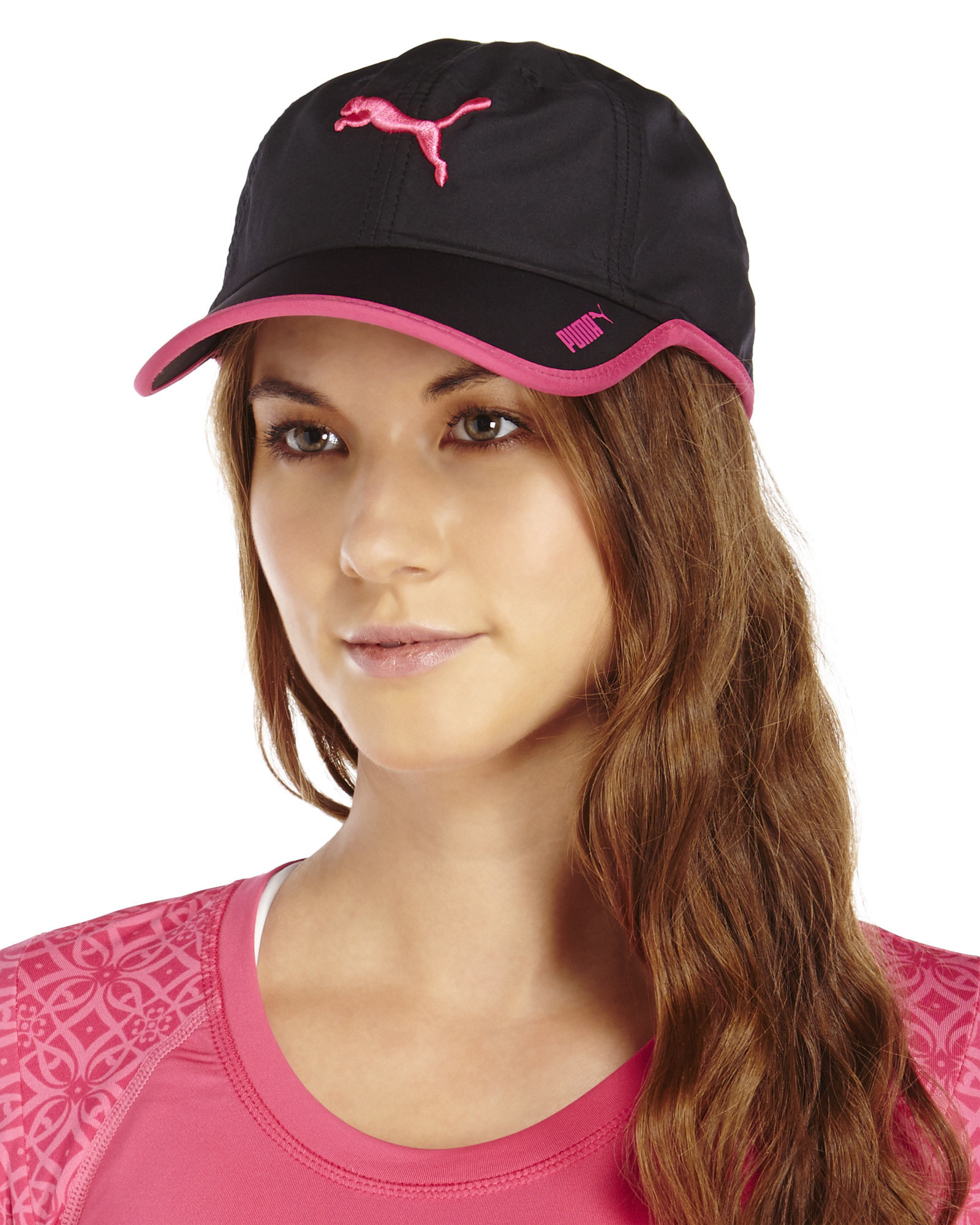 Lyst - PUMA Black   Fuchsia Greta Running Cap in Black cd2bf102469