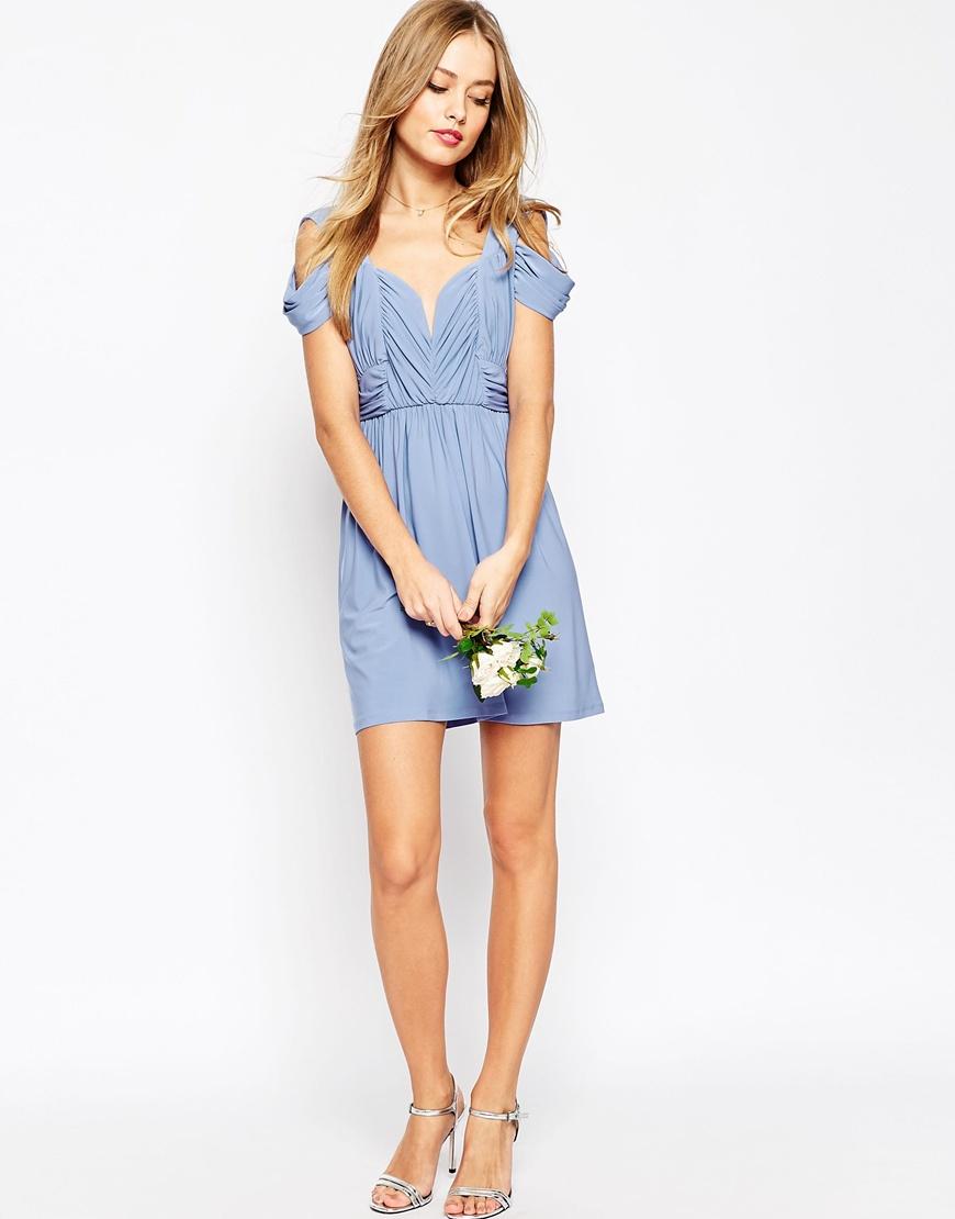 4d95b3d3cfb70 ASOS Wedding Drape Cold Shoulder Mini Dress in Pink - Lyst