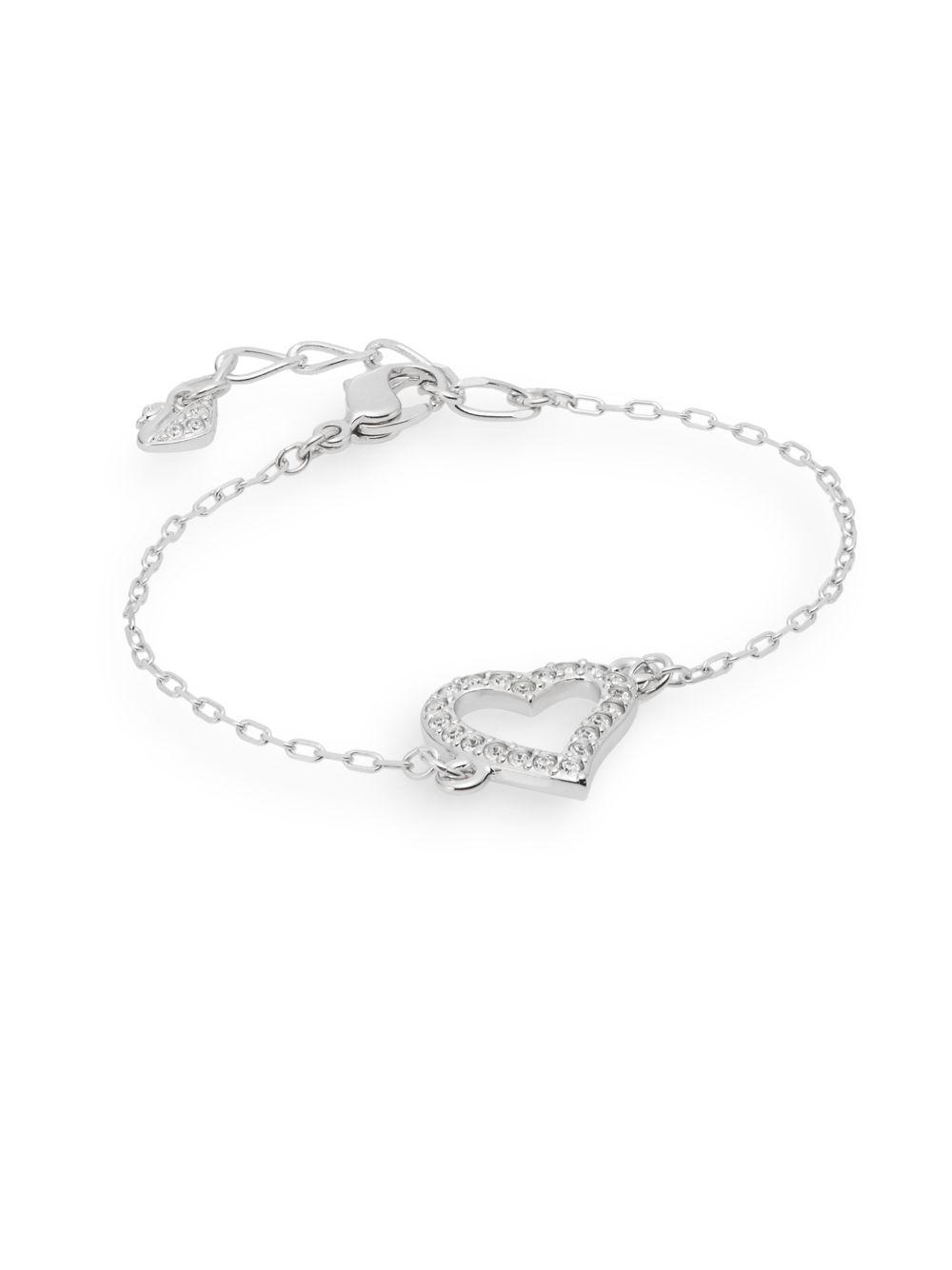 Lyst Swarovski Pave Crystal Open Heart Charm Bracelet In Metallic