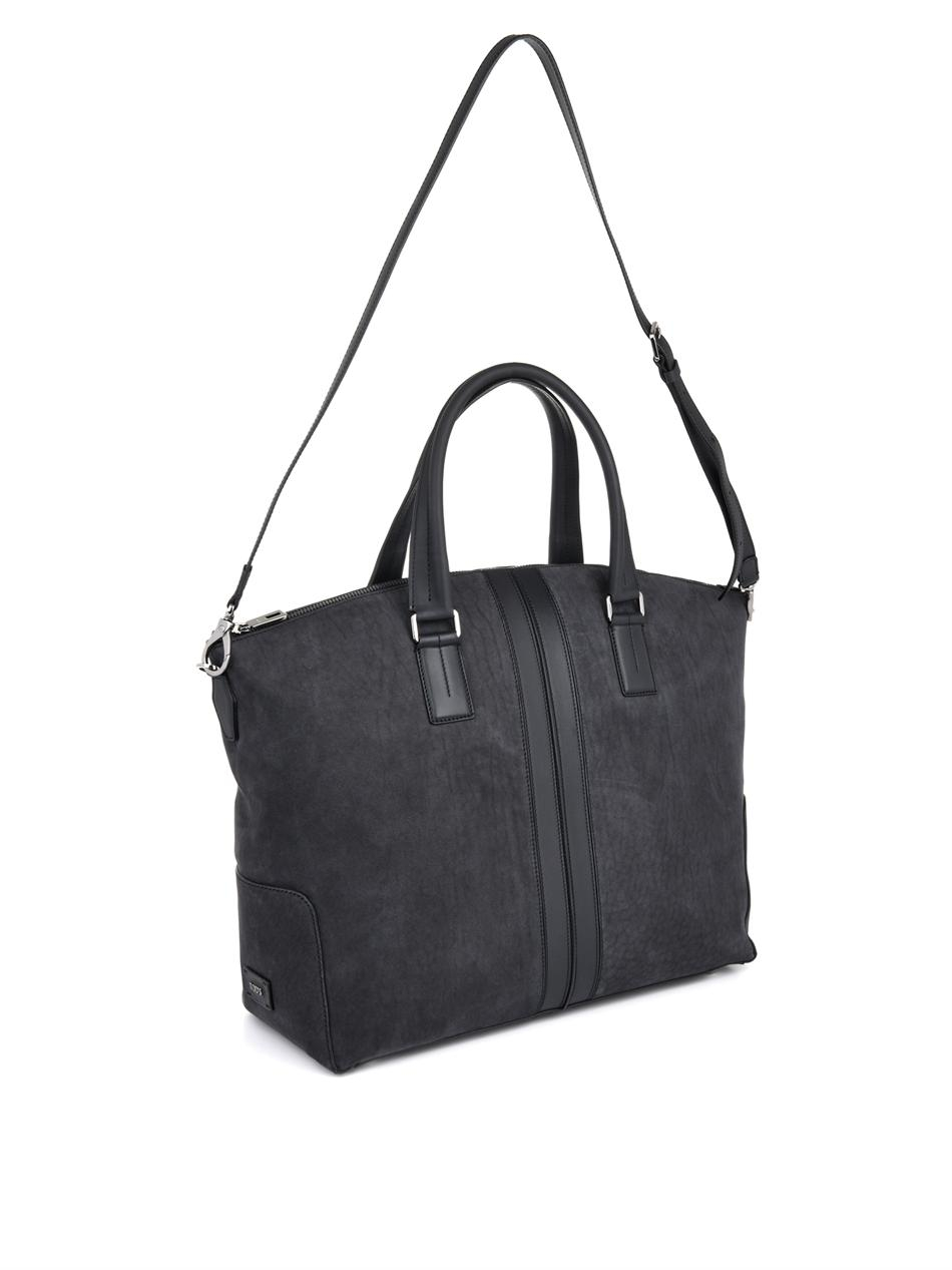 Tod's Suede And Leather Weekend Bag in Gray for Men | Lyst