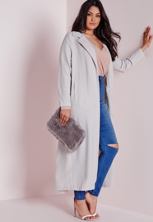 b09e307d67 Missguided Plus Size Long Sleeve Duster Coat Grey in Gray - Lyst