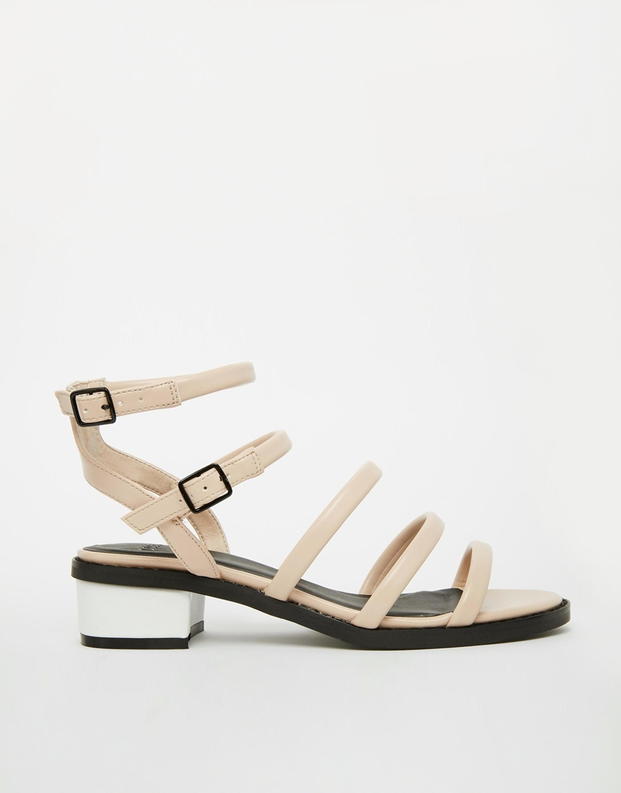 Asos Fudgy Strappy Low Heel Sandals in Natural | Lyst