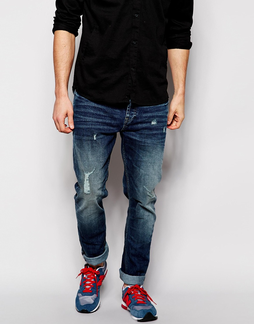 91272573619 Only & Sons Ripped Jeans In Carrot Fit in Blue for Men - Lyst