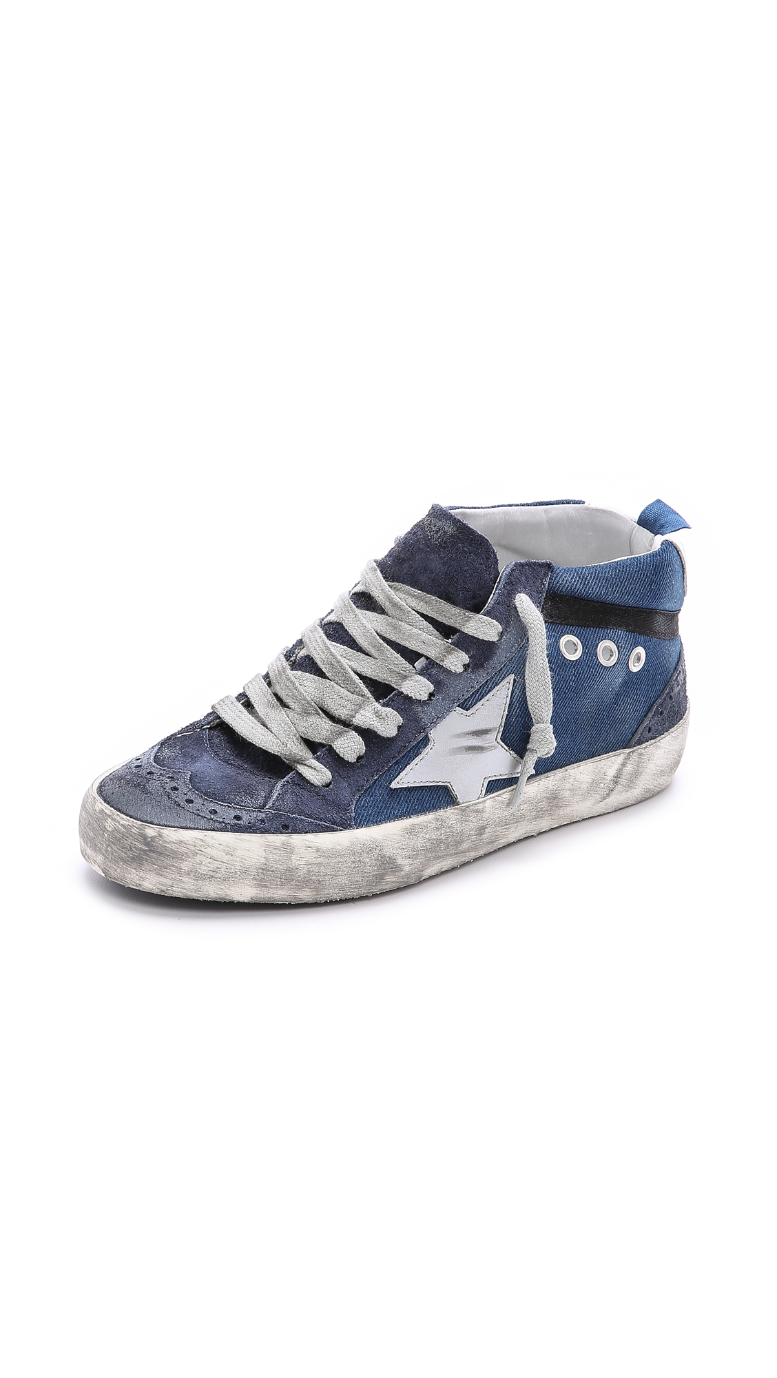 golden goose deluxe brand mid star sneakers denim in blue denim lyst. Black Bedroom Furniture Sets. Home Design Ideas