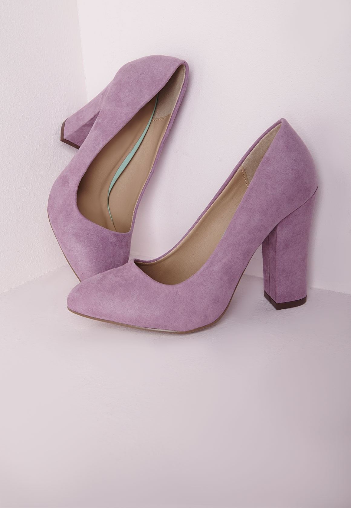Lyst - Missguided Block Heel Court Shoes Lilac in Purple