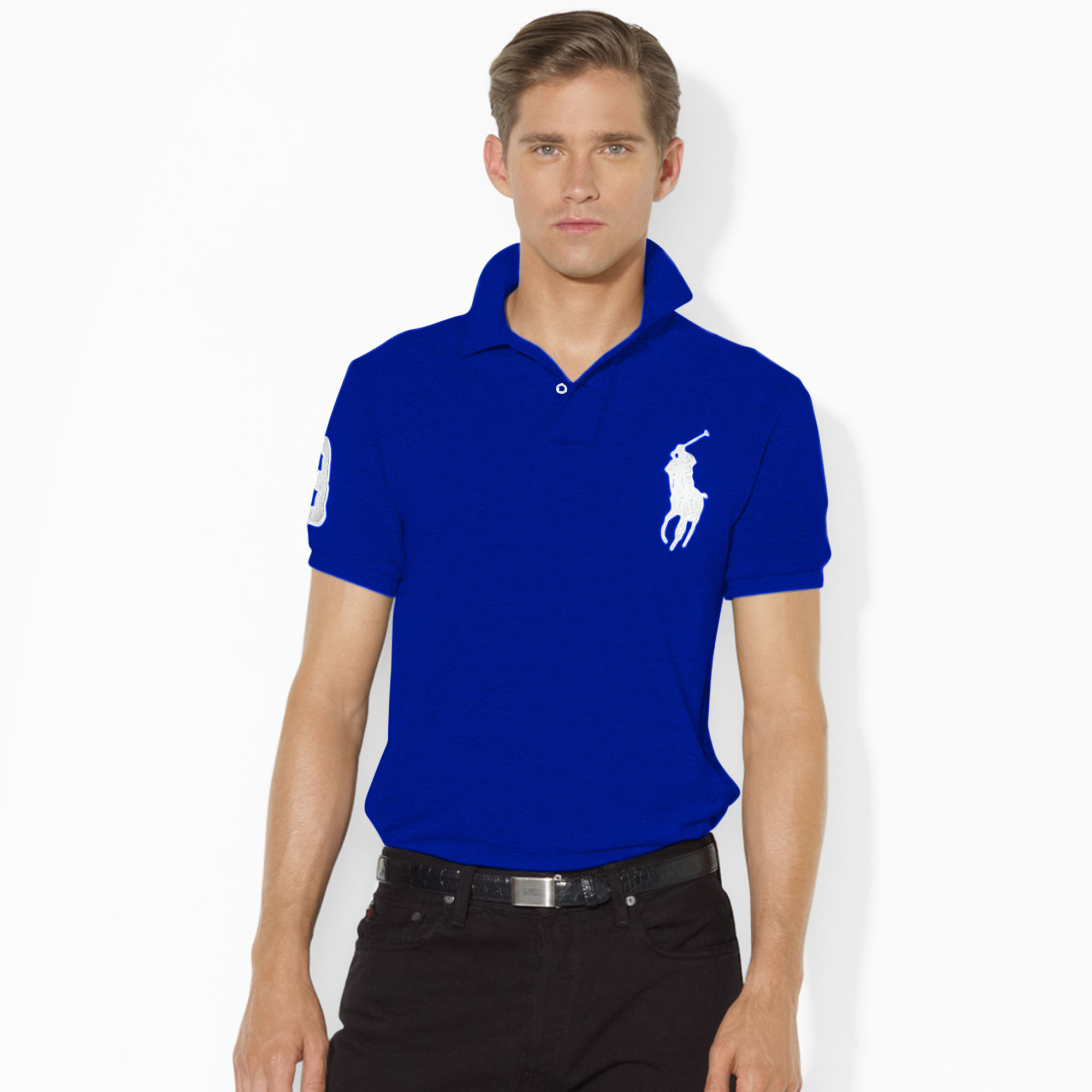 polo ralph lauren slim fit big pony polo shirt in blue for. Black Bedroom Furniture Sets. Home Design Ideas