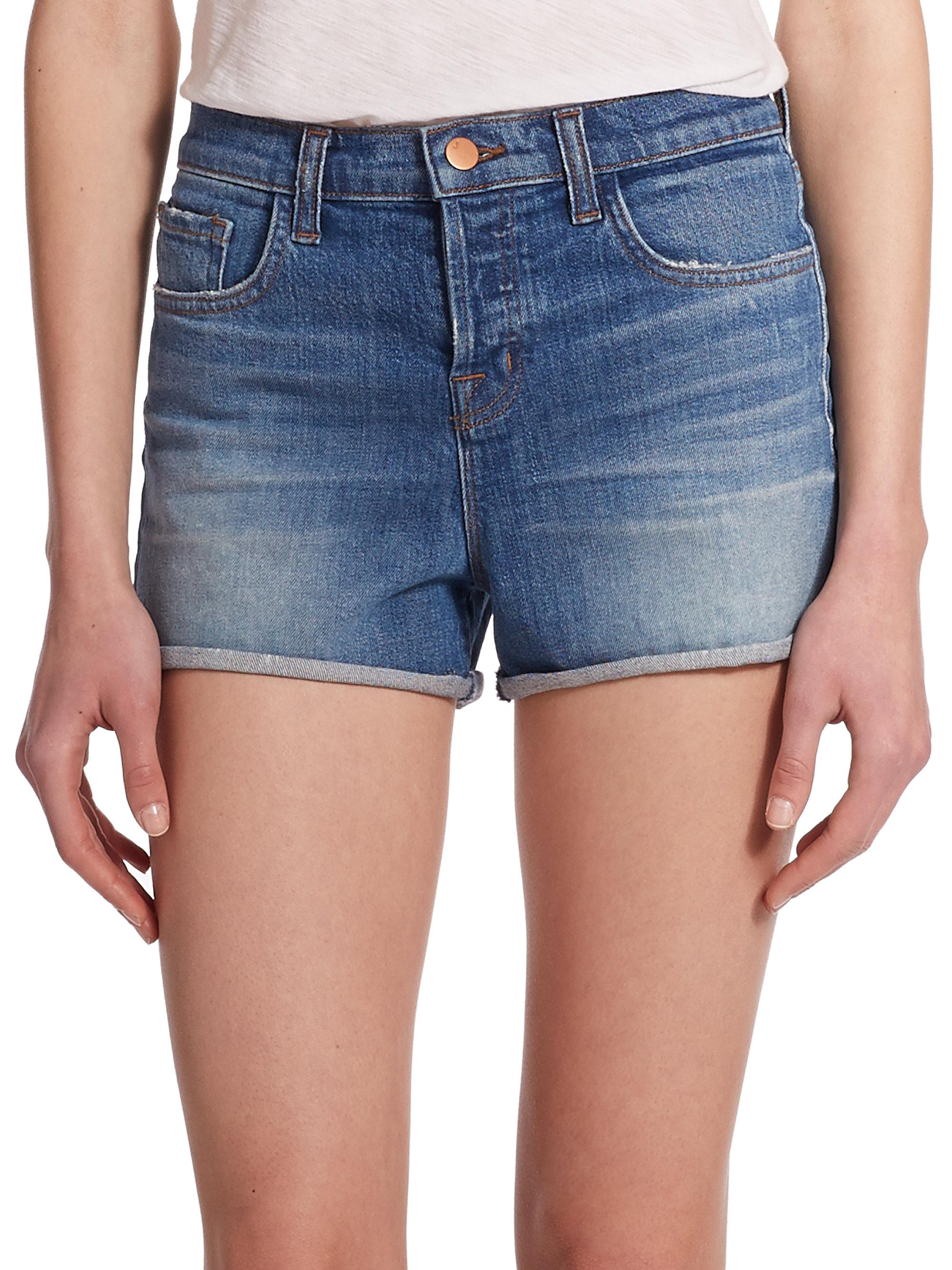 J brand Gracie High-Rise Cuffed Denim Shorts in Blue | Lyst