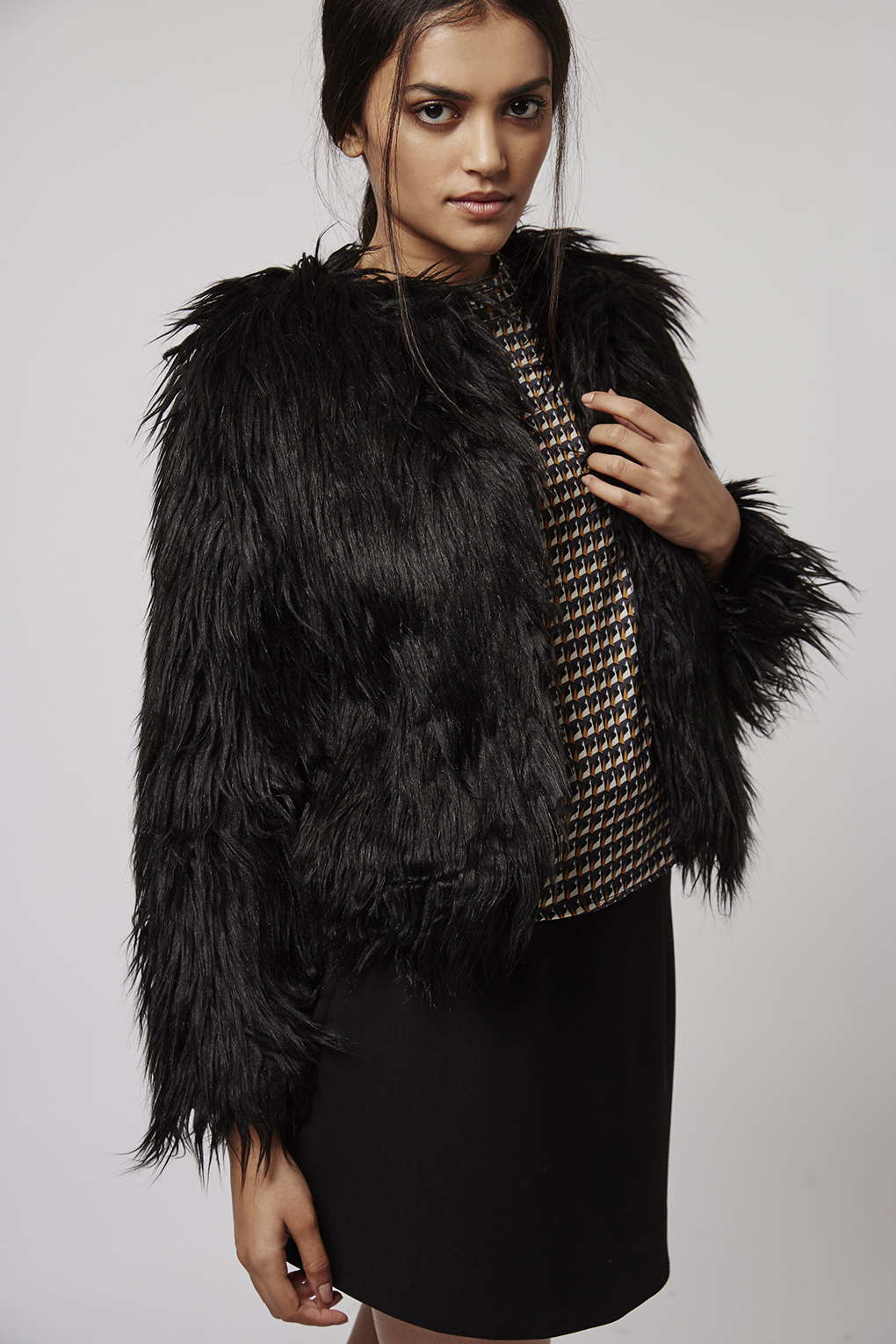 Topshop Faux Fur Coat By Glamorous In Black Lyst