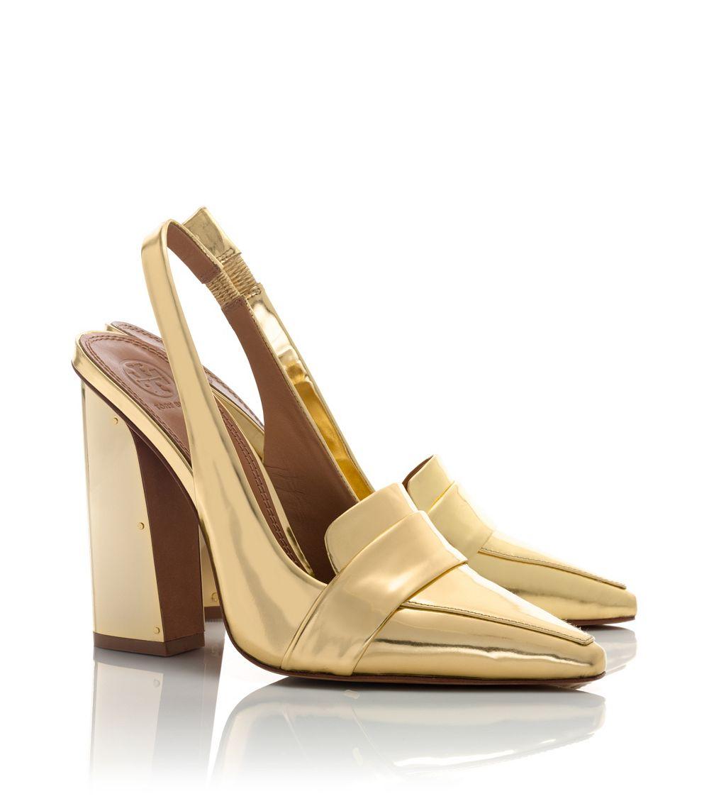 tory burch sadie metallic high heel slingback in metallic lyst. Black Bedroom Furniture Sets. Home Design Ideas