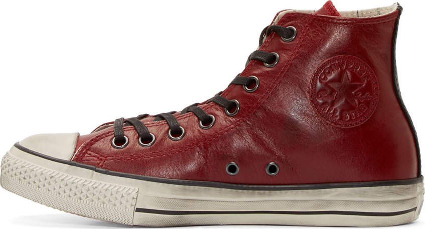 Converse Red Leather Chuck Taylor High Top Sneakers In Red