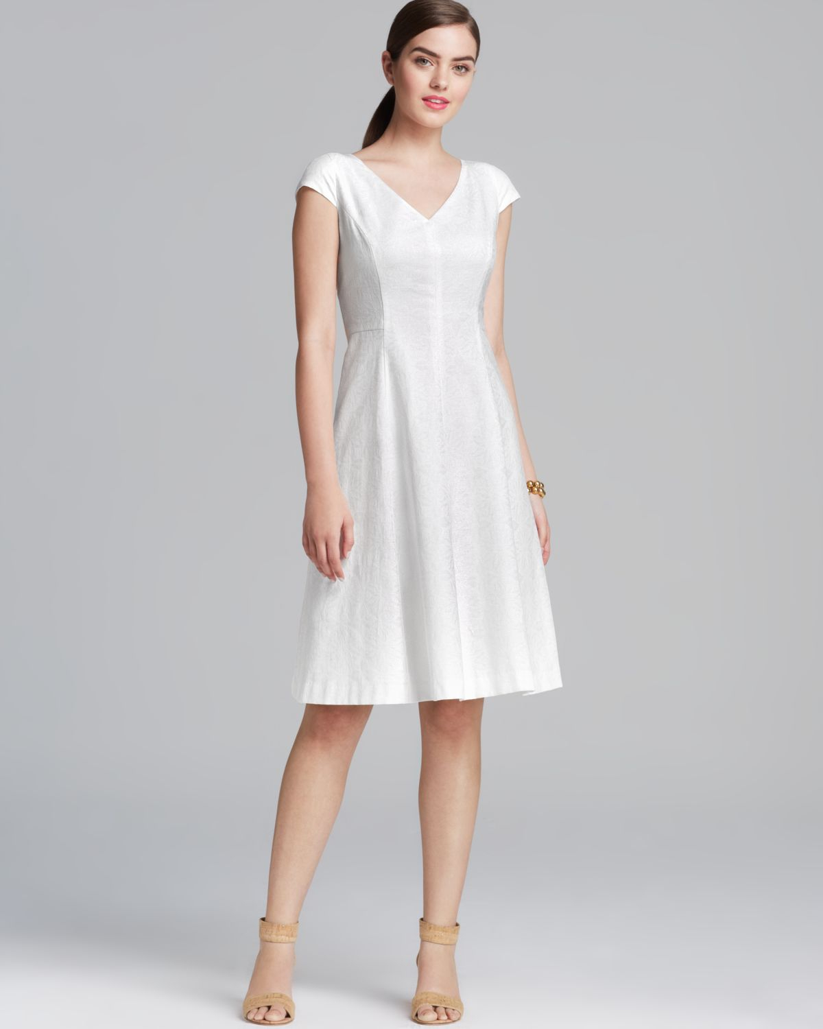 Lyst Anne Klein Dress V Neck Cap Sleeve Aline Skirt In White