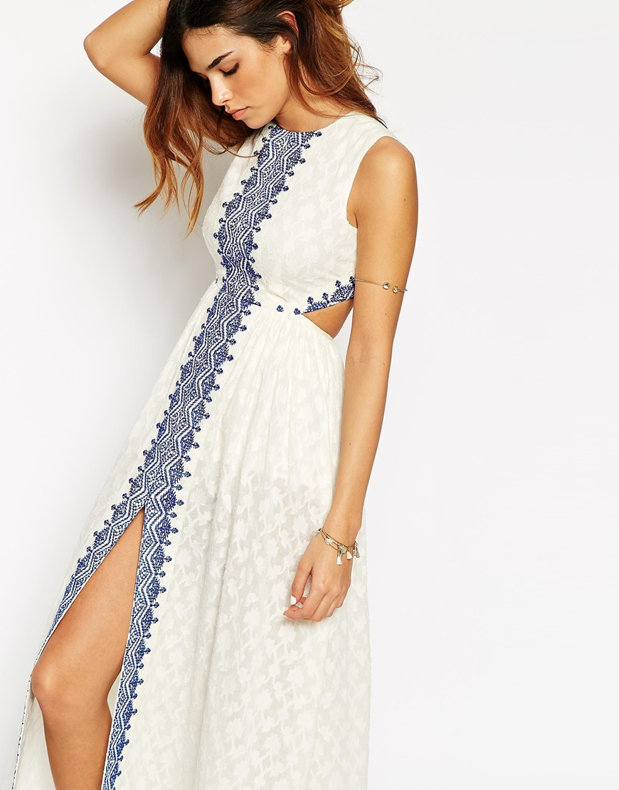 ac03593c165e Lyst - ASOS Petite Maxi Dress With Festival Embroidery And Cut Out ...