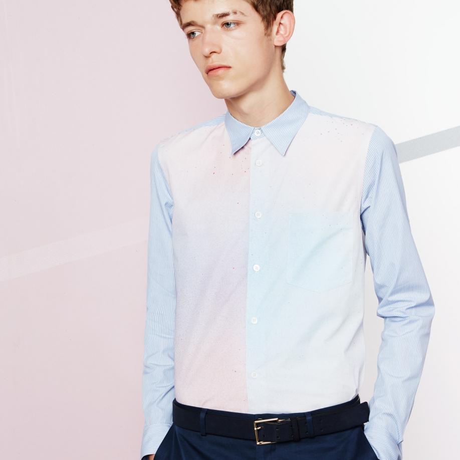 paul smith s blue stripe airbrush print shirt in