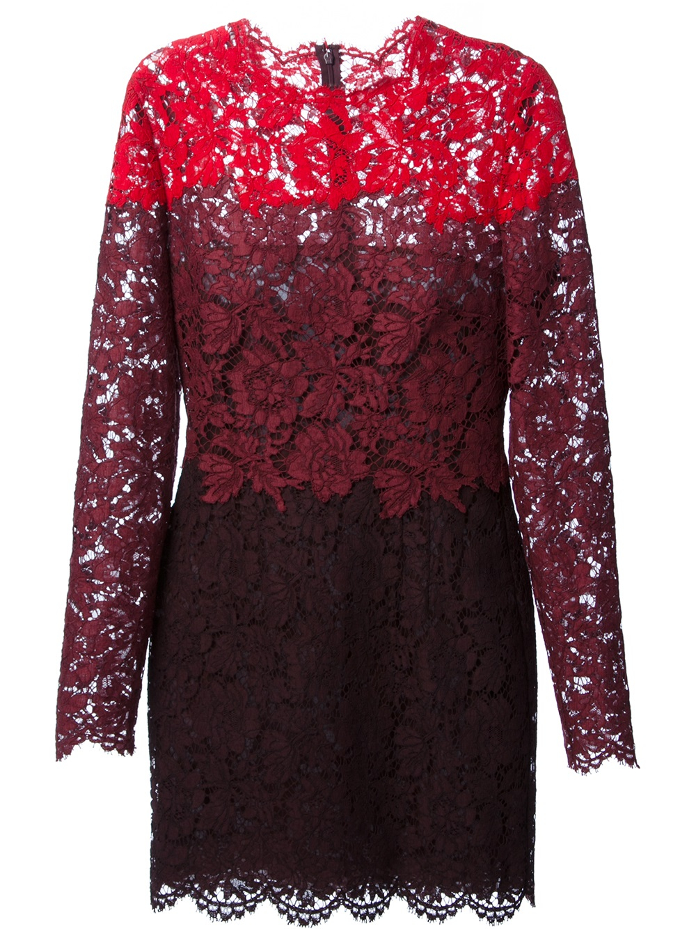 Valentino Floral Lace Embroidered Dress In Purple Red Lyst