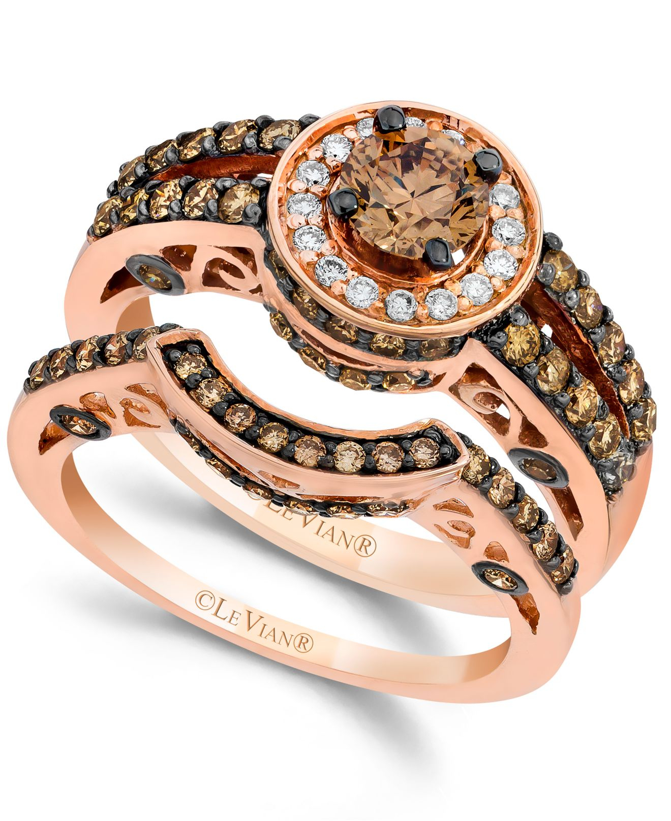 le vian chocolate and white diamond engagement band set in 14k