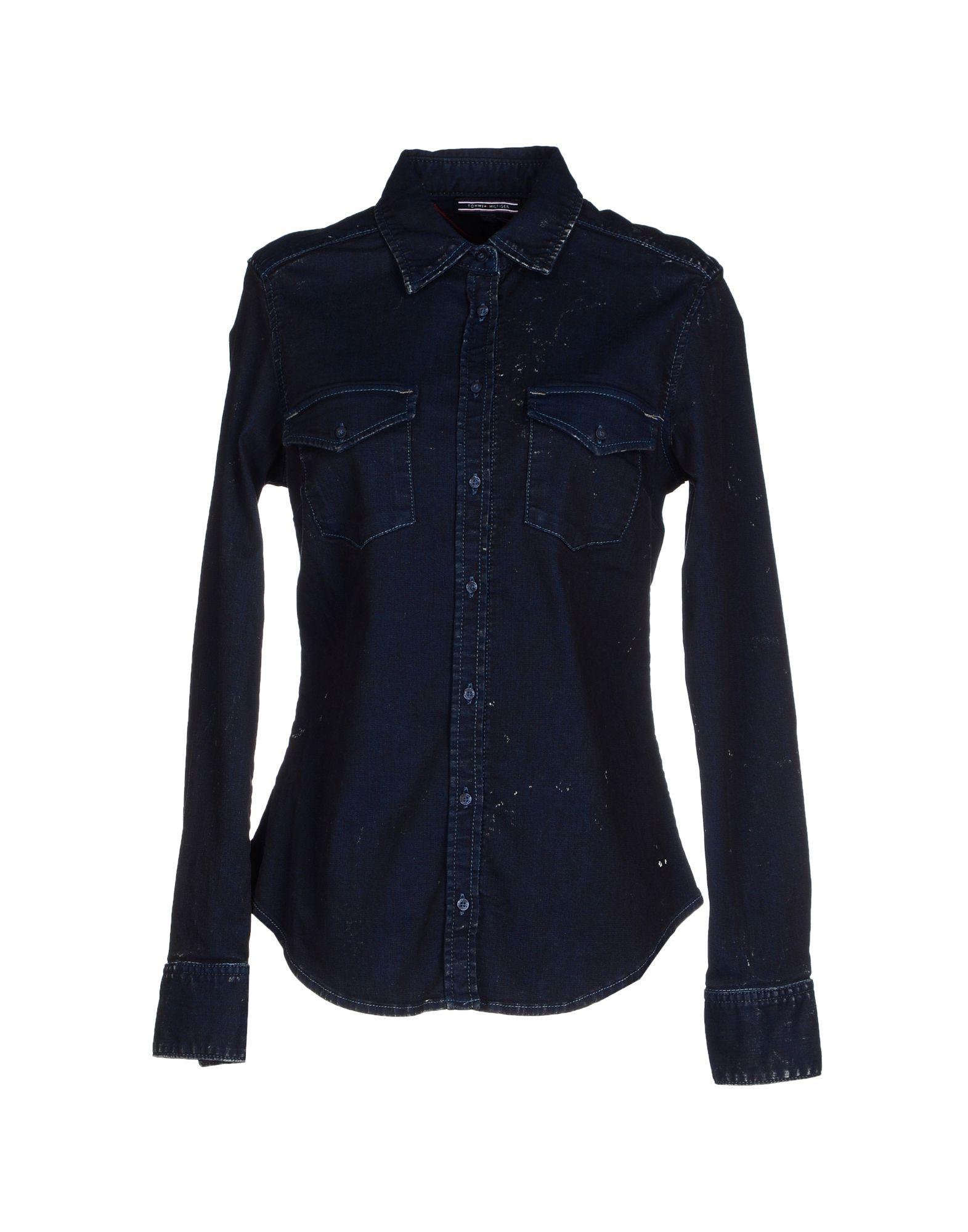 tommy hilfiger denim shirt in blue lyst. Black Bedroom Furniture Sets. Home Design Ideas