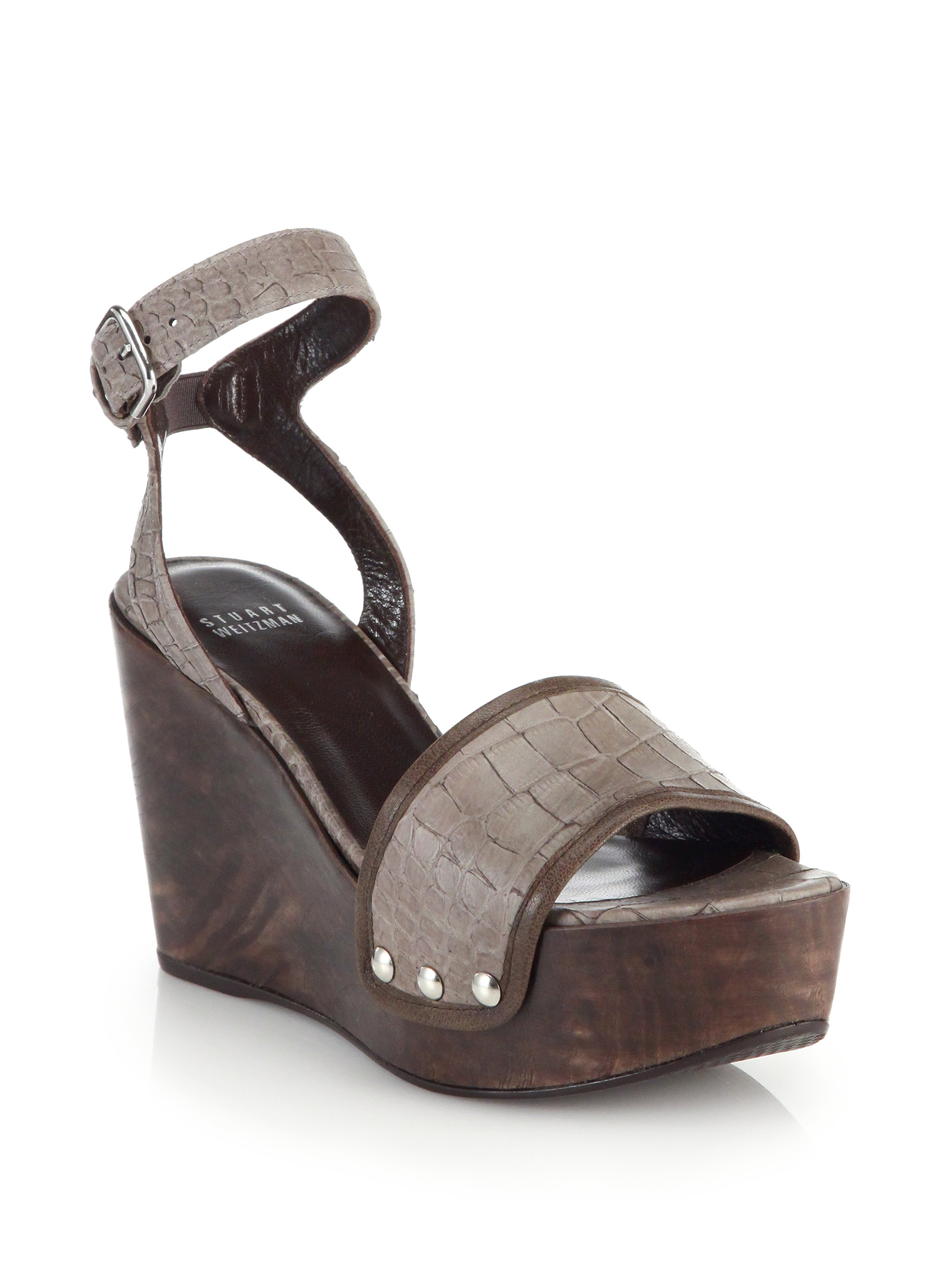 Stuart Weitzman Embossed Leather Wedge Sandals new arrival sale online visit new low cost sale online view cheap online clearance discount Ssa6UX